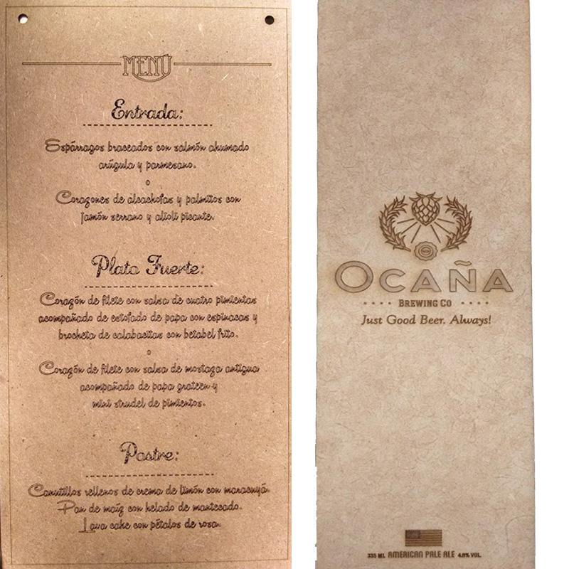 Menu de Restaurante con grabado de madera